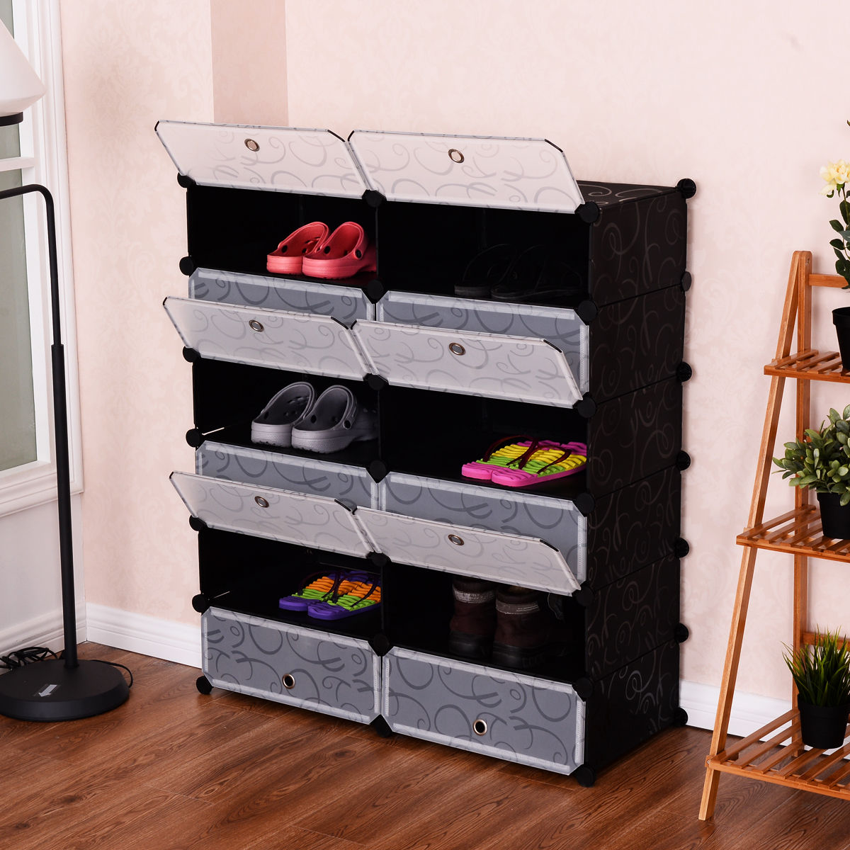 Giantex 12 Cubic Portable Shoe Rack Shelf Modern Waterproof Shoes Cabinet Storage Closet Shoe Organizer Home Furniture HW54796