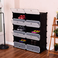 Giantex 12 Cubic Portable Shoe Rack Shelf Modern Waterproof Shoes Cabinet Storage Closet Shoe Organizer Home Furniture HW54796