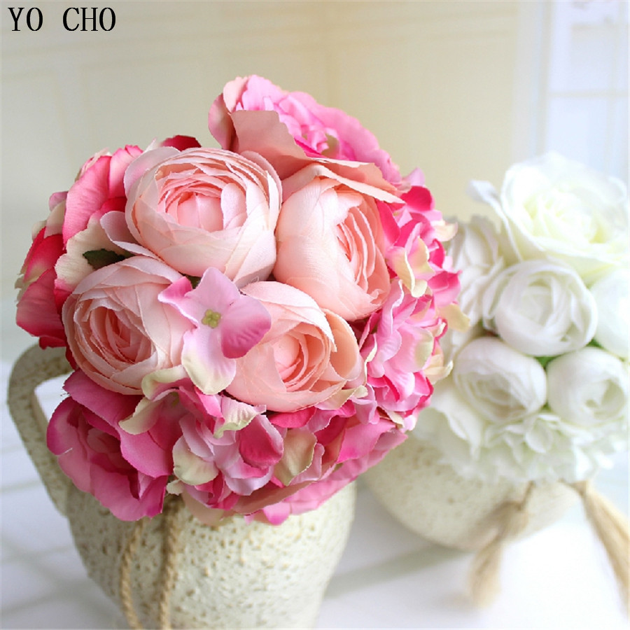 Artificial peony bouquet Real touch rose silk hydrangea bridal ...