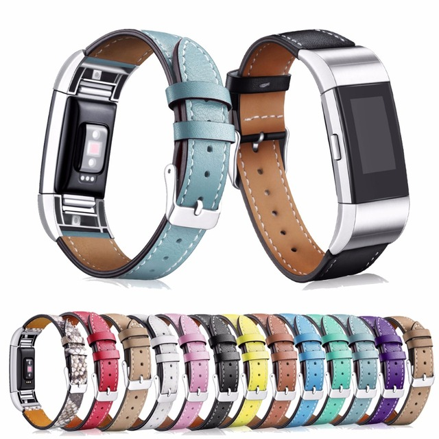 For Fitbit Charge 2 HR Replacement Bands Classic Genuine Leather Wristband With