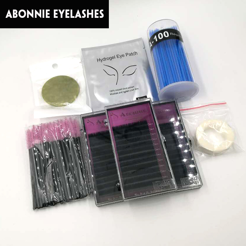 Makeup Sets With Eyelash Extension/Swab/Eyepatch/Tape/Eyebrush/Eyelash Stone or Eyelashes Crystal Stone Total 12 Pieces