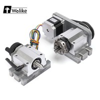 Wolike CNC Router Rotational Rotary Axis A axis 4th axis 3 Jaw Chuck 50mm & Tail stock Stepper Motor for Engraving Machine