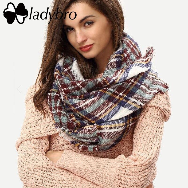 Ladybro зима Для женщин шарф бренд Дизайн платки Шарфы для женщин теплые Европа Классиче ...