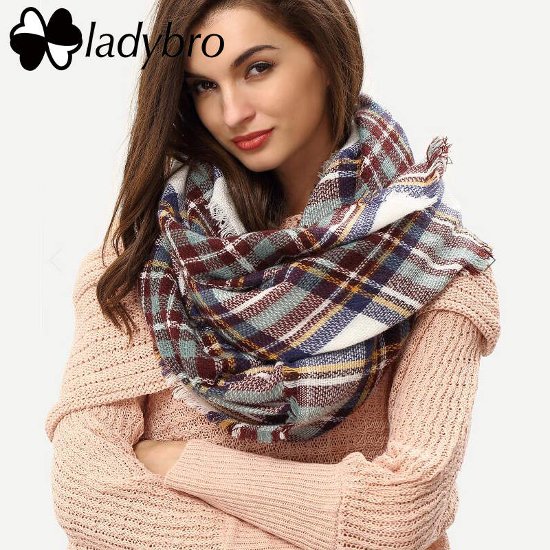 Ladybro Winter Women Scarf Brand Design Shawls Scarves Warm Europe Classic Wool Scarf Fashion Plaid Square Blanket Pashmina