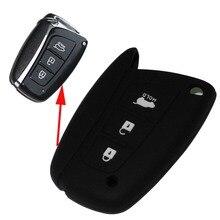 Силиконовые цвет ключа автомобиля дело чехол для hyundai solaris акцент elantra ix35 ix45 santa fe аксессуары 3 кнопки С логотип