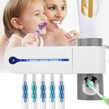 3 в 1 ультрафиолетовый свет зубная щетка стерилизатор держатель для зубной щетки автоматический комплект для зубной пасты диспенсер уход за полостью рта США/ЕС/Великобритания