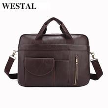 WESTAL Echtem Leder Männer Tasche Mann Aktentasche Rindsleder Crossbody Schulter Handtasche Mode Laptop Bag männer Messenger Bags