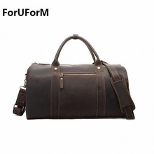 Vintage Crazy Horse Genuine Leather Travel bag men duffle bag luggage travel bag Leather Large Weekend Bag Overnight Tote I-1218