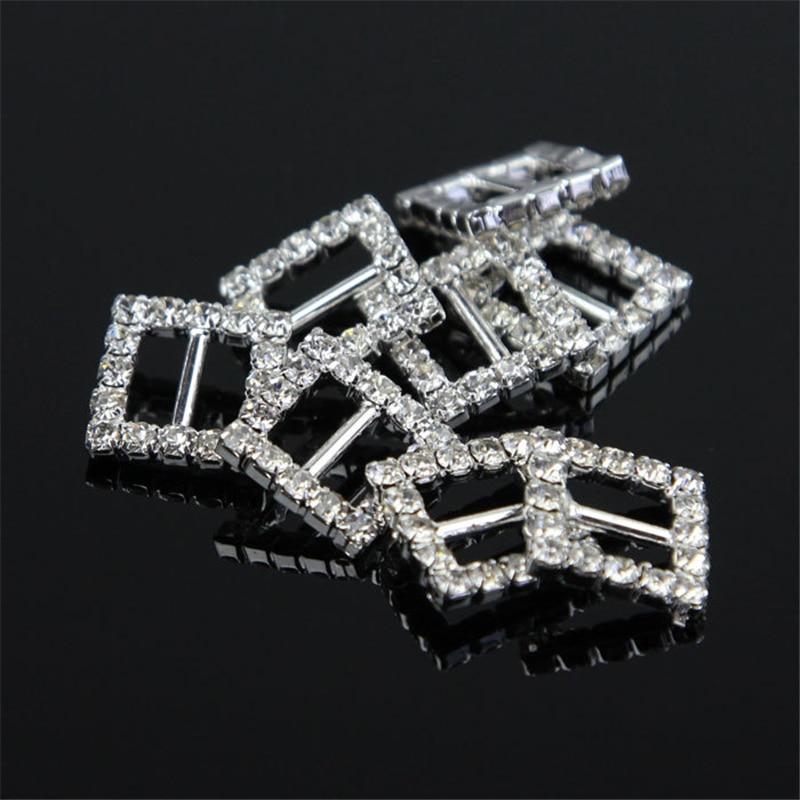 16mm x 16mm Diamond Silver Square Buckles Rhinestone Crystal Ribbon Sliders