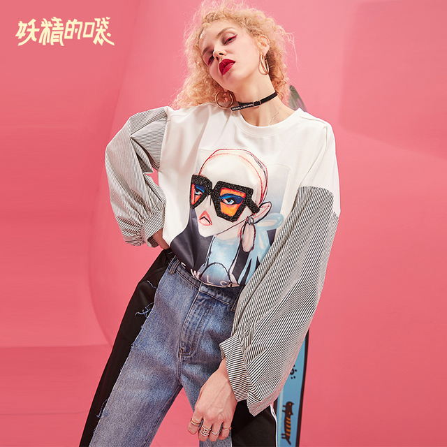 ELF SACK 2019 New Fashion Sweatshirts Woman O-Neck Casual Letter Female Pullovers Full Oversized Women Sweatshirts Print Hoodies