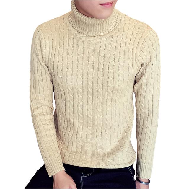 Novo Design 2016 Moda Outono Inverno Homens Camisolas Torção Padrão de Gola Alta Pullover Quente de Alta Pescoço Fino De Malha Blusas Homens