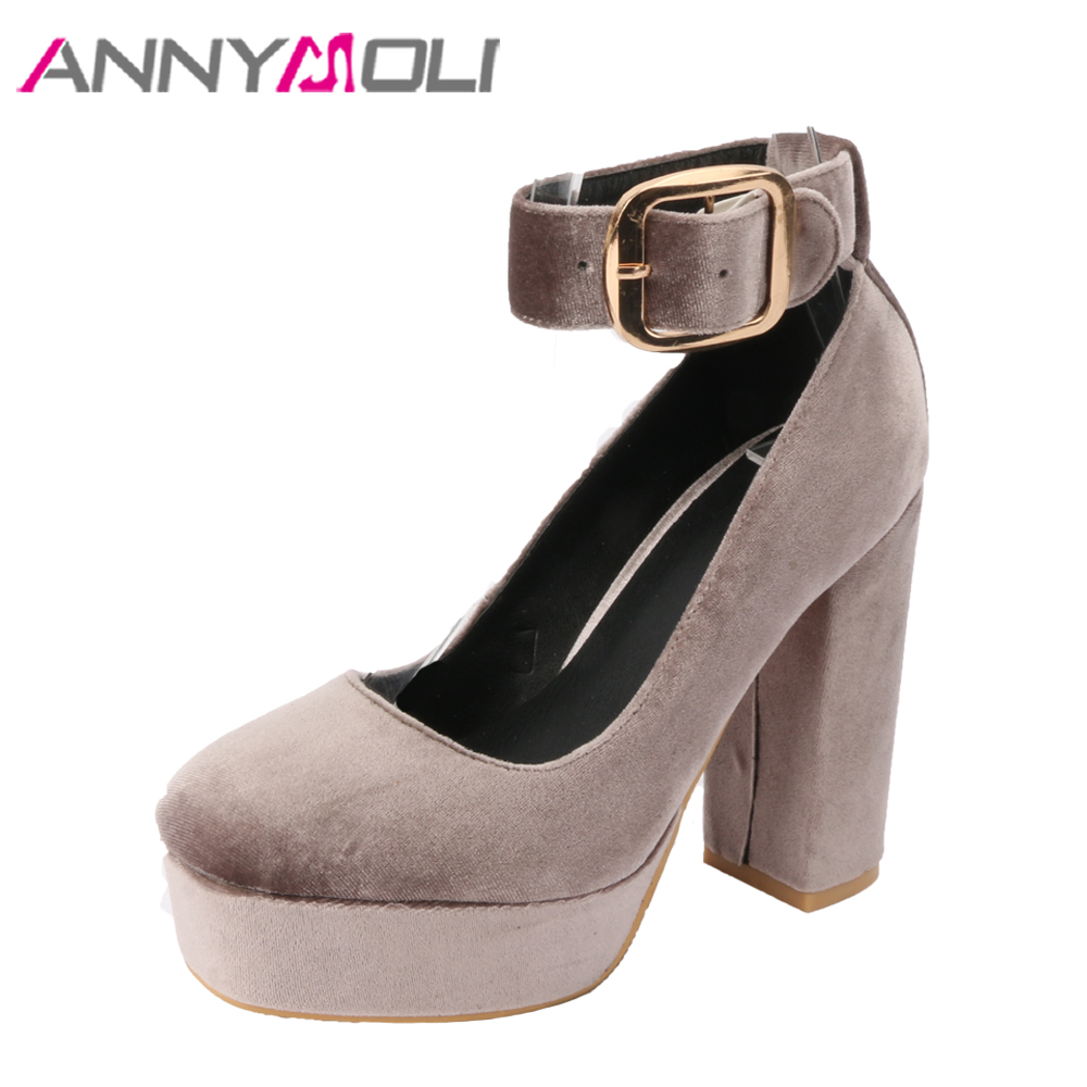 ANNYMOLI Platform High Heels Party Shoes Women Pumps Buckle Velvet Shoes Spring Ankle Strap High Heels Black 2018 Big Size 33-42 sexy fashion womens platform pumps strappy buckle high heels shoes big size shoes black beige yellow pink white