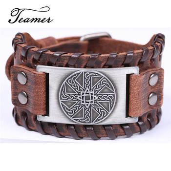 b0db88ed6cd4 Jamieheaslip de eslavos Kolovrat marrón de cuero pulseras para hombres anís  de estrella cerrado redondo encanto amuleto de trenza pulsera de joyería  Vintage