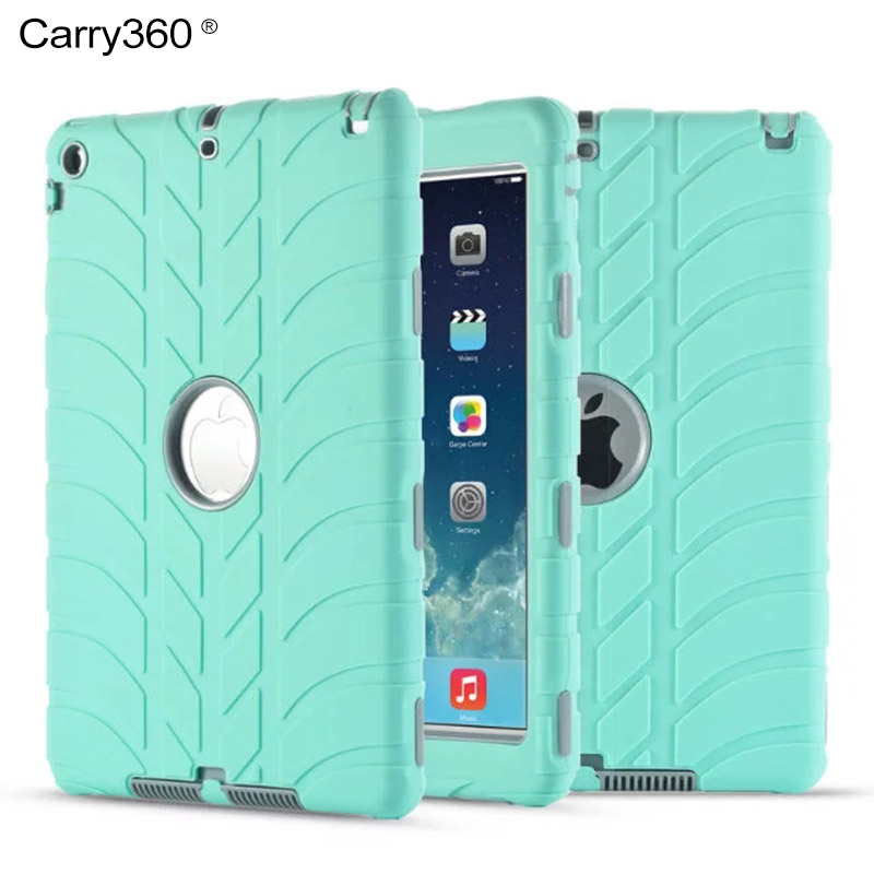 Case for iPad Air 1, Carry360 Kids Safe Shockproof Hybrid Armor Heavy Duty Silicone Rubber Case Cover for Apple iPad Air 1 /5 for ipad air 2 heavy duty 9 7 fundas shockproof armor hydrid case back cover for ipad air 2 360 degree protective shell stand