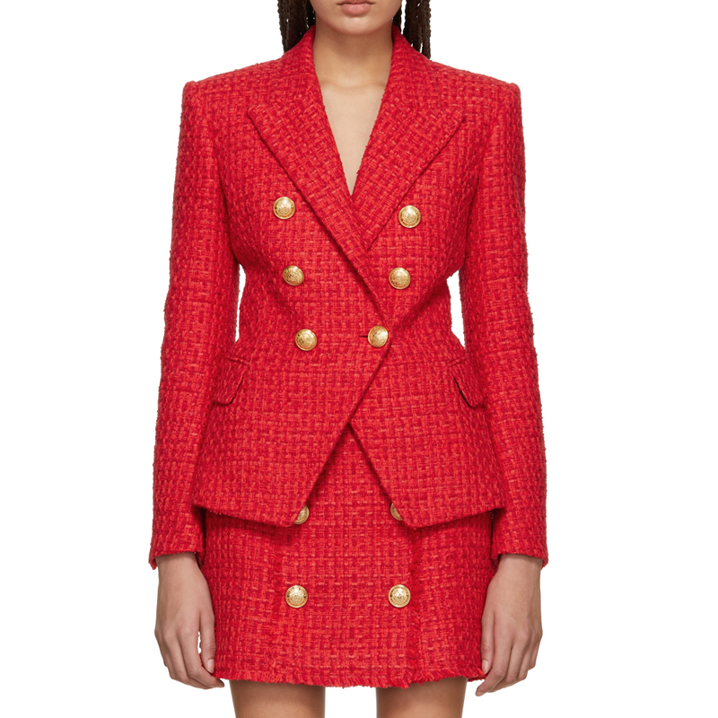 58936e62 Vintage Double Breasted Frayed Checked Tweed Blazers Coat Women 2019 ...