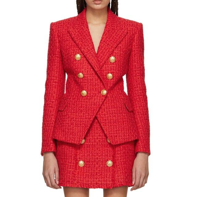 Chaqueta de lana de Tweed con botones de León para mujer, chaqueta clásica de diseñador para otoño e invierno, 2020