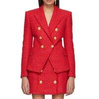 HIGH QUALITY Newest Fashion 2019 Fall Winter Designer Blazer Jacket Women's Classic Lion Buttons Tweed Wool Blazer Coat