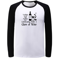 IDzn Blue Black Raglan Long Sleeve T Shirt Looking Good And Feeling Fine Celebrating Class Of