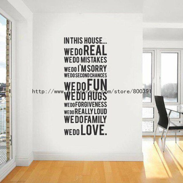 Package size 60x80cm house rules wall sticker 10pcs house rule 2 modern wall sticker vinyl