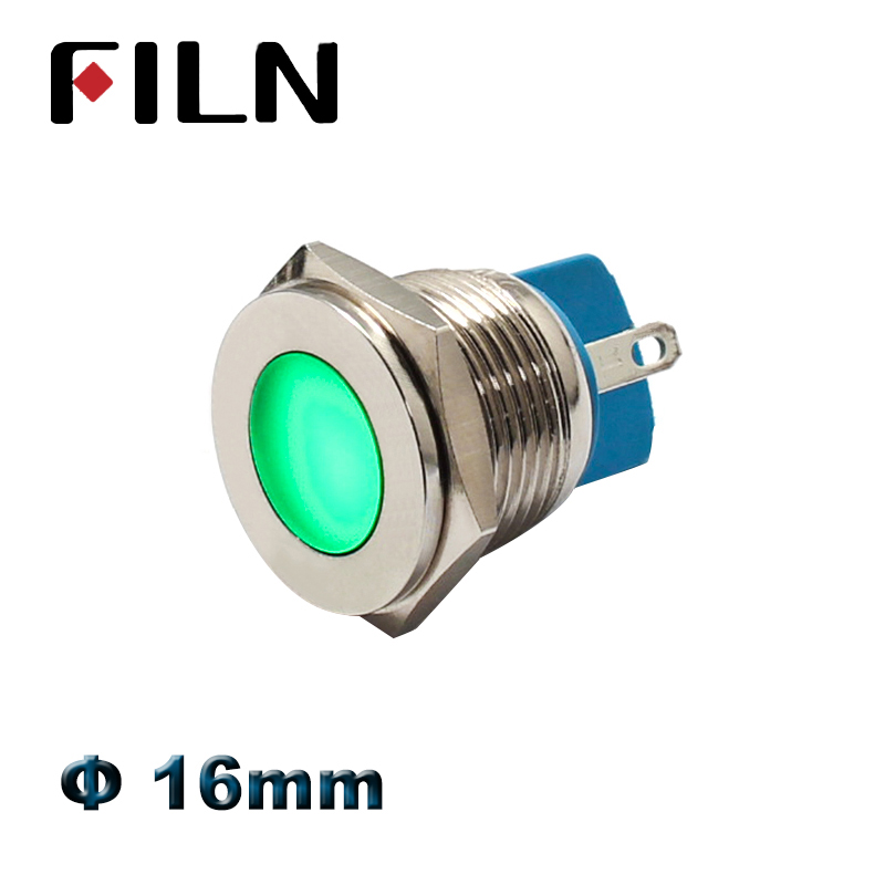 FILN 16mm 12v 24v Led Metal Indicator Light Red Green Blue White Amber Warning Metal Signal Lamp Pilot Lamp 110v 220v