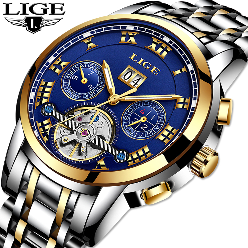 LIGE Luxury Brand Men Full automatic Mechanical Watch Tourbillon Business Stainless Steel Man Calendar Watches relogio