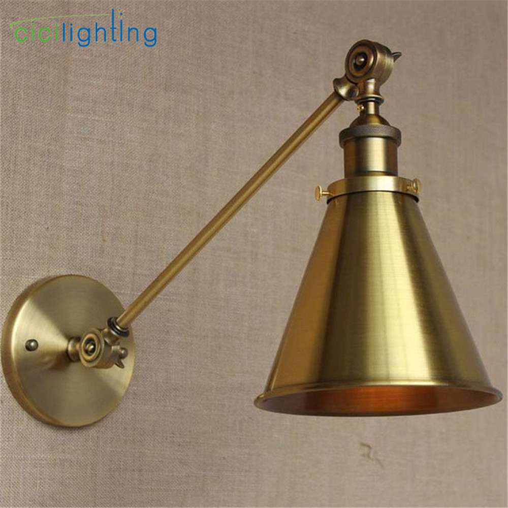 L30cm Long arm American industrial style single arm adjusted wall light E27 Brass Copper finished Metal Skirt shade sconce lamp