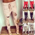 2016 Mujeres Niñas Casual Harem Hip Hop Danza Pantalón Lápiz Agujero Pantalones pantalones delgados