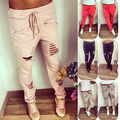 2016 Women Girls Casual Harem Hip Hop Dance Pencil Pant Hole Trousers slim pants