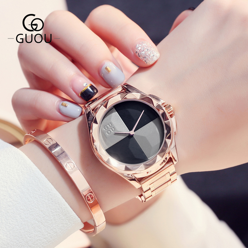 Reloj Mujer GUOU Women Watches Fashion Blush Paragraph Tide Quartz Ladies Watch Luxury Stainless Steel Watch Relogio Feminino fashion luxury guou watch women watch reloj mujer stainless steel quality diamond ladies quartz watch women rhinestone watches