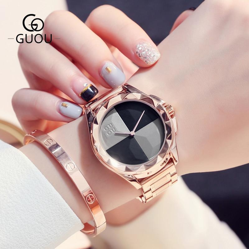 купить Reloj Mujer GUOU Women Watches Fashion Blush Paragraph Tide Quartz Ladies Watch Luxury Stainless Steel Watch Relogio Feminino по цене 2034.49 рублей