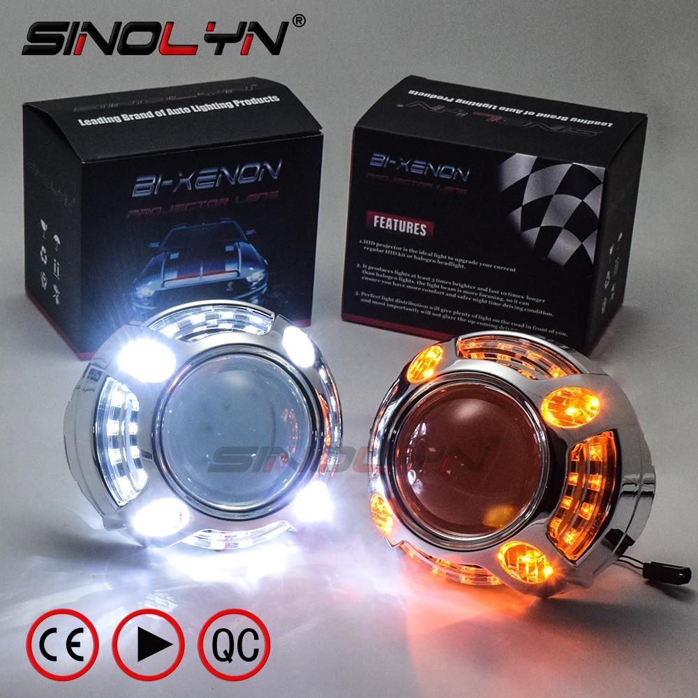 SINOLYN 2 5 H1 Car Bixenon Headlight Projector Lens W LED Shrouds Angel Eyes DRL Switchback