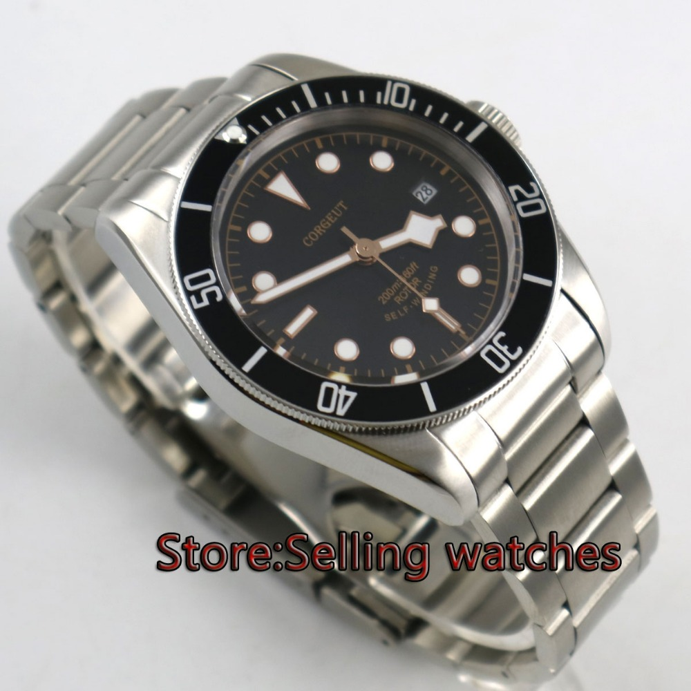 41mm corgeut sterile dial date window Sapphire Glass steel miyota Movement automatic mens Watch 41mm corgeut black dial sapphire glass miyota automatic movement mens watch c03