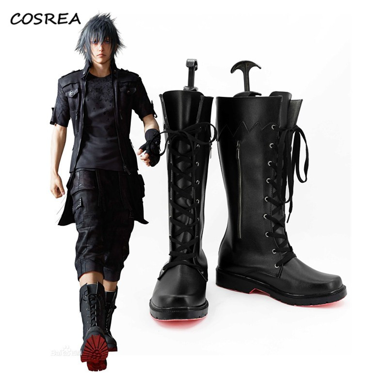 Final Fantasy XV Noctis Lucis Caelum Black Boots Anime Cosplay Costume Shoes For Adult Men Women Halloween Party Props Customize