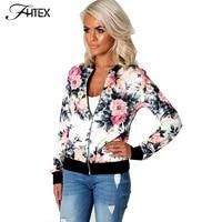 Flower Print Women Basic Coats Long Sleeve Zipper Bomber Jacket Casual Jacket Coat Autumn Winter Streetwear sukajan
