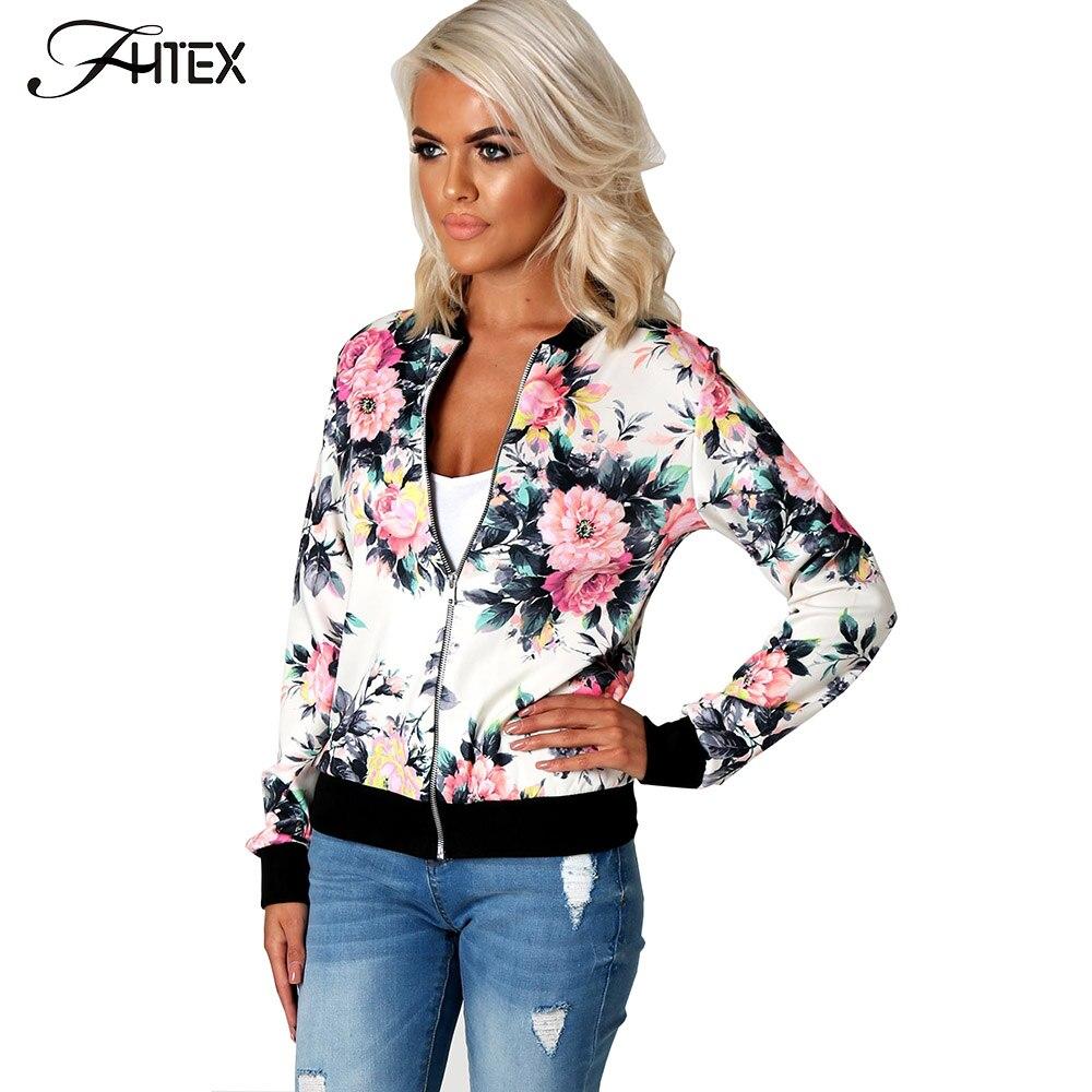 Flower Print Women Basic Coats Long Slees
