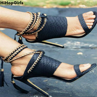 HiHopGirls Wholesale Fashion Women Pumps Party High Heels Shoes Chain Cross Straps Thin High Heeled Sandals