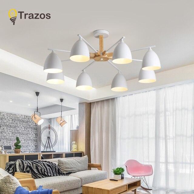TRAZOS Nordic 220V LED Chandelier With Metal lampshade For Living Room E27 Wooden Chandelier Lighting Modern Foyer Lustre