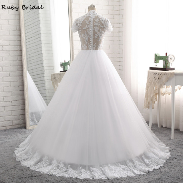 Ruby Bridal Elegant Long A-line Wedding Dresses Cheap White Tulle Appliques Short Sleeves Bridal Gown PW7