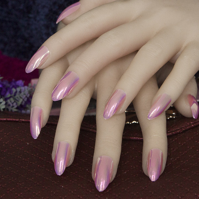 24pcs Stiletto Pointed Acrylic Nails Metal Mirror Effect False Nails