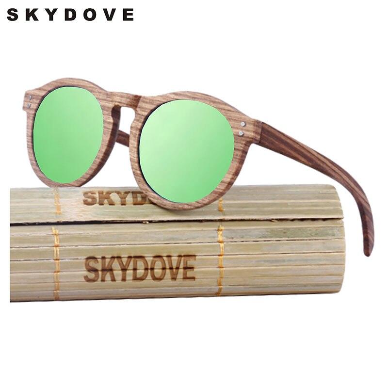 SKYDOVE Reto Wooden Sunglasses Female Zebra 2018 Women Wood Sunglasses Round Goggle Polarized Bamboo Wood Sunglasses Men