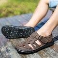 Мода Лето Сандалии Мужчины Летняя Обувь Мужчины Сандалии Кожа, Светло-Коричневый, темно-Коричневый