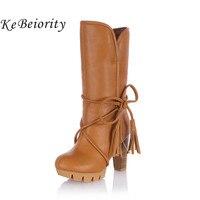 Kebeiority 2017 المرأة الدافئة الثلوج الشتاء النساء ركوب الأحذية الإناث أحذية عالية الكعب كعب سميك المرأة الرباط عاليا الأحذية