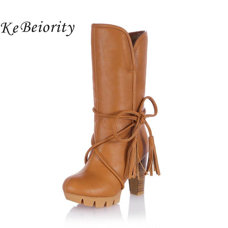 Kebeiority 2017 женские теплые зимние ботинки Женские зимние мотоциклетные ботинки женские Высокие каблуки толстый каблук Женские сапоги Кружево до Высокие сапоги
