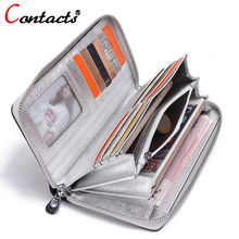 CONTACT'S Genuine Leather women Wallet Female Purse phone women wallet designer candy color clutch coins Card Holder money bag