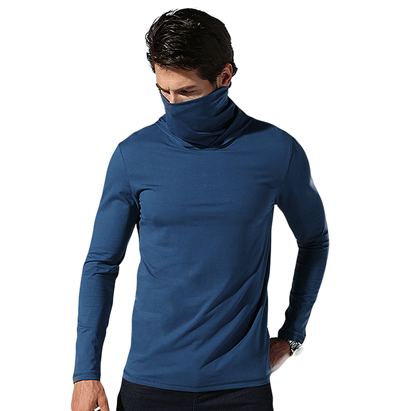 2018 Mens Fashion Turtleneck Mask T shirt Hooded Cotton Slim Fit Sportswear Skinny High Collar Long Sleeves Top Tees Men M-XXL