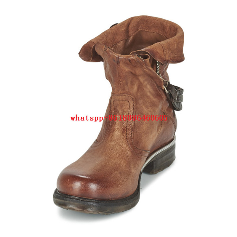 Choudory Combat Motorcycle Western Cowboy Boots Stockings Leather Womens Booties Square Toe Autumn Winter Shoes