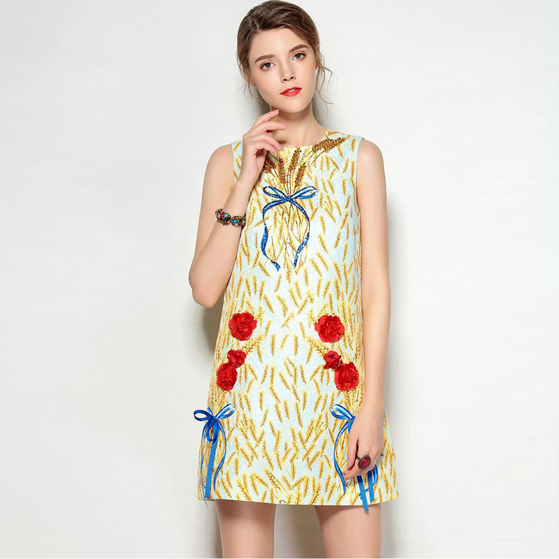New Arrival 2018 Womens O Neck Sleeveless Beaded Sequined Printed Bow Detailing High Street Fashion Short Dresses