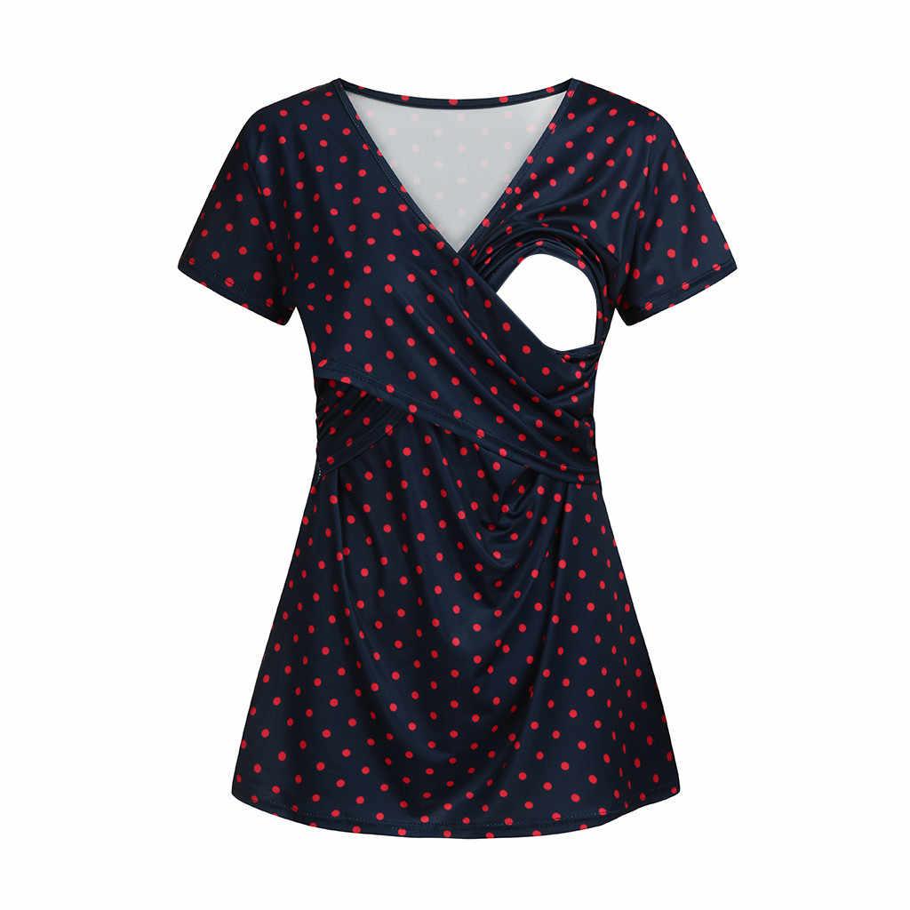 Femmes vêtements de maternité comfortable à manches courtes soins infirmiers point imprimé haut pour l'allaitement Ropa Maternidad Camiseta Lactancia