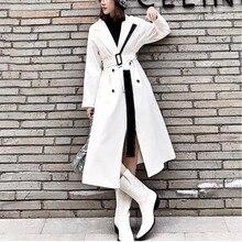 LANMREM 2020 biały karbowany kołnierzyk wiatrówka dla kobiet nowa wiosna koreański mody wysokiej talii długi płaszcz z pasem kobiet WD83000