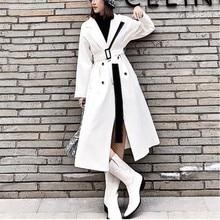 LANMREM 2020 blanc cranté col coupe vent pour les femmes nouveau printemps mode coréenne taille haute Long manteau avec ceinture femme WD83000